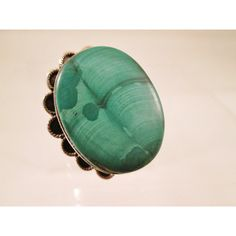 Navajo Malachite Ring Green Native American Gemstone Chunky Sterling... ($60) ❤ liked on Polyvore featuring jewelry, rings, sterling silver jewellery, gem rings, green ring, vintage native american jewelry and sterling silver rings