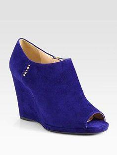#Prada - Suede Wedge Ankle Boots - Saks.com