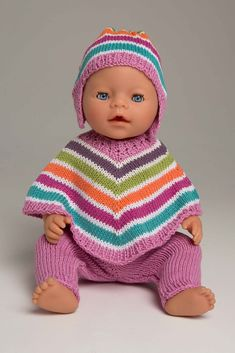 Poncho, bukse og lue - Viking of Norway Baby Born Clothes, Boy Doll Clothes, Knitting Dolls Clothes, American Doll Clothes, Crochet Doll Clothes, Knitted Dolls, Doll Clothes Patterns, Doll Patterns, Crochet Baby Poncho