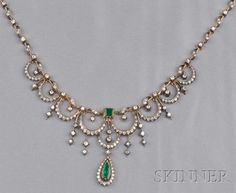 Emerald and Diamond Necklace Jewelry Design Earrings, Diamond Jewelry, Gold Mangalsutra Designs, Indian Jewelry Sets, Gold Jewelry Simple, Jewellery Sketches, Beautiful Necklaces, Fashion Jewelry, Authenticity