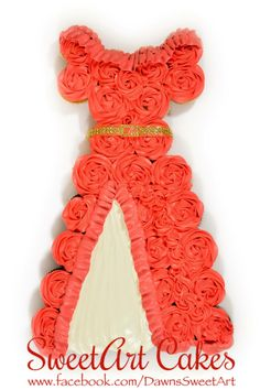 Birthday cupcakes, cupcake cake, dress cupcake cake, Elena of Avalor cupcakes