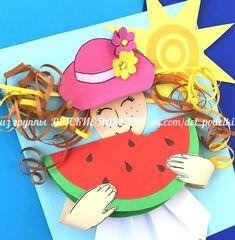 Summer Drawings, Art Drawings For Kids, Art For Kids, Easy Crafts, Diy And Crafts, Crafts For Kids, Summer Crafts, Summer Art, 3d Christmas Tree Card
