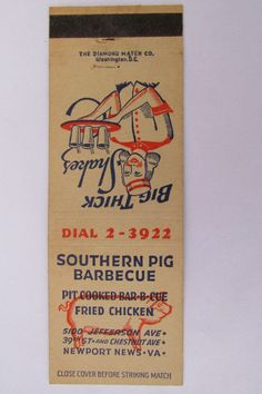 Southern Pig Barbeque Newport News Virginia Restaurant 20 Strike Matchbook Cover