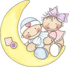 Cute children on a crescent moon - Baby Shower Invite / invitation Clipart Baby, Baby Shower Clipart, Baby Shower Invitations, Baby Pictures, Cute Pictures, Scrapbook Bebe, Baby Painting, Baby Mine, Baby Belly