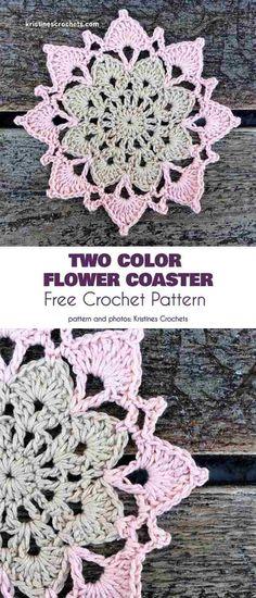 47 Ideas Crochet Coasters Free Pattern Square Rugs For 2019 Crochet Coaster Pattern, Crochet Blocks, Crochet Flower Patterns, Crochet Squares, Crochet Doilies, Crochet Lace, Pattern Flower, Granny Squares, Unique Crochet
