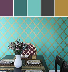Divine Teal Dining Room Designed By Lisa Perrone | Stylyze Creative Director via Stylyze