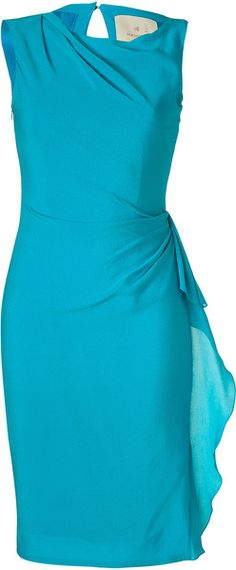 ROKSANDA ILINCIC Turquoise Draped Silkgauze Dress  You know what would look simply fantastic with this? A pair of orange shoes,  preferably a sexy sandal and great accessories.....Ann-Marie
