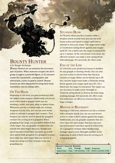 DnD 5e Homebrew — Bounty Hunter Ranger by BardBrimstone