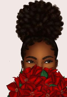 Peeping Poinsettia was my first sale (to a stranger 😂) when I opened my shop last year. Decided to update it in my current style and I… Sexy Black Art, Black Love Art, Black Girl Art, My Black Is Beautiful, Black Girls Rock, Black Art Painting, Black Artwork, Natural Hair Art, Natural Hair Styles