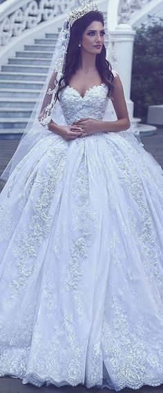 f8830e7c4438b  466.00  Alluring Tulle V-neck Neckline Ball Gown Wedding Dresses With  Beaded Lace Appliques