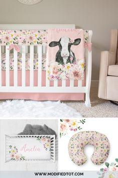 How gorgeous is this floral crib bedding for your baby girl nursery? Love the personalized crib sheet too! Woodland Nursery Boy, Farm Nursery, Nursery Decor, Bedroom Decor, Baby Girl Crib Bedding, Nursery Bedding, Nursing Pillow Cover, Pillow Covers, Rainbow Nursery