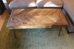 Chevron Reclaimed Wood (dark) Coffee/side Table On Hairpin Legs - One Of A Kind