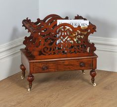 Antique Victorian Carved Figured Walnut Canterbury / Magazine Rack (Circa 1860) by YolaGrayAntiques on Etsy