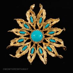 Chic Vintage DeNicola Brooch HUGE Turquoise Cabochon Etched Gold Tone FLOWER Pin
