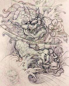 "2,885 lượt thích, 7 bình luận - David Hoang (@davidhoangtattoo) trên Instagram: ""Foodog sketch. #sketch #drawing #illustration #foodog #hannya #asiantattoo #asianink #irezumi…"""