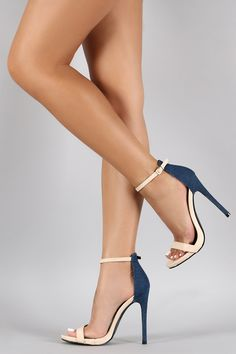 Duo Sleek Denim Open Toe Heel. Back should be black