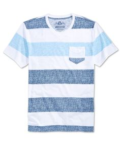A textured look is complemented by a classic stripe pattern on this V-neck  tee a2fc43d861ec7