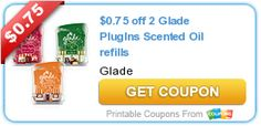 $0.75 off 2 Glade PlugIns Scented Oil refills