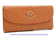 MK 2014 Michael Kors Canvas Snap Logo Wallet Brown Discount