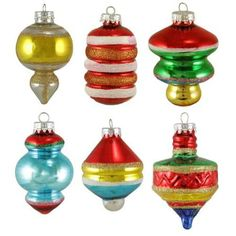 Set of 6 Early Years Retro Glass Finial and Top Christmas Ornaments 3""