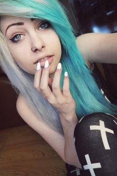 Blue blonde half and half hair