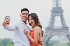 Don't forget the mandatory engagement selfy when you are at the Eiffel Tower