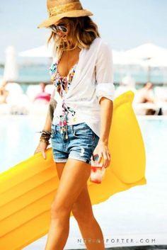 White button up blouse, ruffled under shirt, cutoffs, sandals, strawhat
