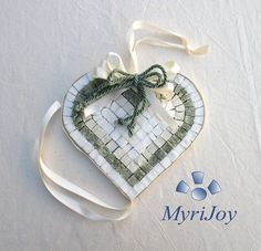 """TILE Mini MOSAIC KIT DIY: Green Heart 6"""" x 6"""" - Mosaic wall art - Heart shaped gifts for women - Valentines Mosaic Heart. The kit includes: selected Italian marble mosaic tiles, board with printed grid, hook, image of the finished mosaics, instructions, ribbon ornament. The kit does not include: nippers (to trim the tiles as needed) and PVA glue. The printed grid on the board is intended as a guideline, not as a requirement to follow. The colors of the materials may not reflect those on…"""