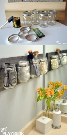 Mason Jar Organizer. A great option for the upstairs bathroom instead of the shelf.
