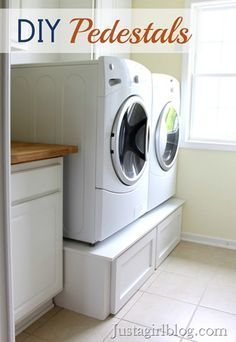 DIY washer dryer pedestal- what a great idea to add storage and raise up the washer and dryer for easier access.