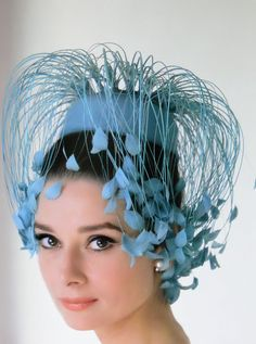 Audrey Hepburn...embellished light blue pillbox hat.  FUN!!!