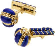 Diamond, Enamel, Gold Cuff Links, David Webb. ... (Total: 1 Items) | Lot #58026 | Heritage Auctions