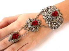 Gothic Ring Bracelet Wedding Slave Bracelet Red Swarovski Silver Bracelet with Ring Filigree Bracelet Victorian Gothic Jewelry Noir Jewelry, Hand Jewelry, Gothic Jewelry, Jewelry Accessories, Jewelry Design, Unique Jewelry, Jewelry Necklaces, Bullet Jewelry, Jewellery