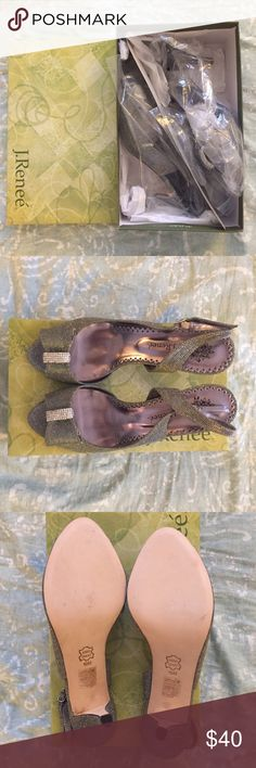 J Renee DAYNA Glimmer Heels W10 NWT J Renee DAYNA Heels. Glimmer Fabric. W10 NWT. Never worn + in original packaging. Color Pewter. J Renee Shoes Heels