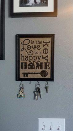 Framed Burlap Print -  Love is the Key to A Happy Home - Vertical - Key Hooks - Subway Art - Housewarming - 8x10 on Etsy, $26.00
