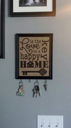 Framed Burlap Print - Love is the Key to A Happy Home - Vertical - Key Hooks - Subway Art - Housewarming - 8x10 on Etsy, $26.00