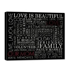 Holiday Gift Typography ELITE Series Word Art Canvas art personalized Words and phrases wall art 24X36