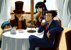 PLvPW print 2010 by ryo-hakkai on deviantART Professor Layton & Ace Attorney meal with their assistants.