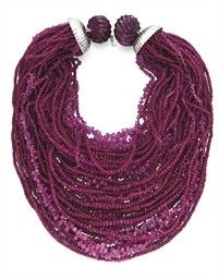 Wild rubies and 18kt gold Necklace. tobylynngems@aol.com