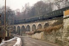SBB, Neuhausen, Schnellzug Stuttgart-Zürich mit Ae 3/6 I, Aufnahme 1970