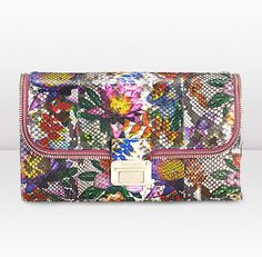 Lou-Multi Colour Floral Printed Python Bag