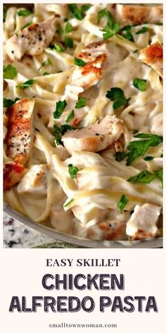 A creamy weeknight dinner idea, this Easy Skillet Chicken Alfredo Pasta will be a regular at your table! This recipe brings golden brown chicken, fettuccine pasta, and creamy Parmesan Alfredo sauce together in perfect harmony. Save this family and kid-friendly meal! Easy Pasta Dishes, Easy Pasta Recipes, Best Chicken Recipes, Pasta Meals, Kid Recipes, Chicken Meals, Noodle Recipes, Family Recipes, Turkey Recipes