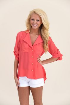 The Best Ever Ever Blouse-Coral - What's New | The Red Dress Boutique Love the color!!!