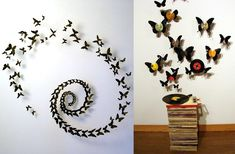 Butterflies are made from beer cans. The butterfly art is attached to the wall with suspension wire, giving the can crafts a three dimensional pop. Pop Can Crafts, Arts And Crafts, Diy Crafts, Butterfly Wall Art, Butterfly Crafts, Butterfly Music, Paper Butterflies, Feng Shui, Record Crafts