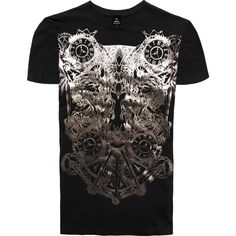 RADDAR7 - Warfare Gothic Metallic Print T-shirt ($42) ❤ liked on Polyvore featuring men's fashion, men's clothing, men's shirts, men's t-shirts, metallic mens shirt, mens cotton shirts, mens party shirts, mens patterned shirts and mens print shirts