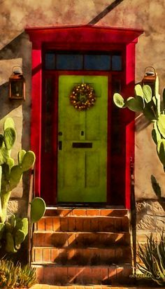 Tucson, Arizona. A vivid green takes center stage here rather than the more typical red door....without leaving the red behind. Edgy.