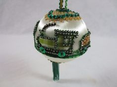 Hand-Made Kit Detailed faux gems of Steam Locomotive Train Christmas Ornament 3""
