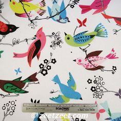 Alexander Henry JUNE SONG White Bird Birds Quilt Fabric - 1 Yard