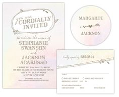 Watercolor invites from Paper Muse Press