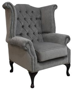 Chesterfield Queen Anne High Back Wing Chair Pimlico Grey Fabric in Home, Furniture & DIY, Furniture, Sofas, Armchairs & Suites, Armchairs | eBay